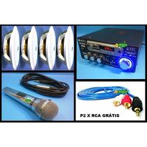 Kit Som Ambiente Completo Usb Fm + 4 Falantes Microfone Rca