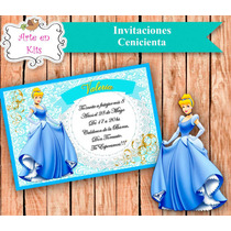 Tarjetas Invitaciones Cenicienta Nena X10u De 10x15 Cm