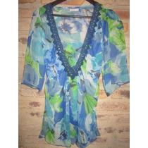 Blusa - Camisola India Style - Gasa Transparente - Talle M.