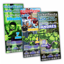 100 Invitaciones Tiket Impresas Hulk Urgentes Envio Gratis!
