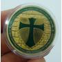 A70 Moeda/medalha Cavaleiros Templários 40mm Dourada/verde