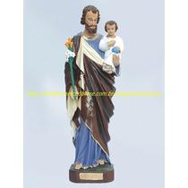 4 Escultura São José Menino Jesus No Colo Imagem 40cm Gesso