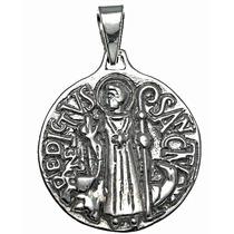 Dije De Cruz Medalla San Benito Diseño Antiguo En Plata .925