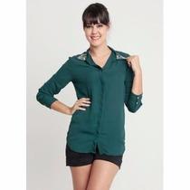 Camisa Musseline Verde Escuro Com Pedraria Promoção