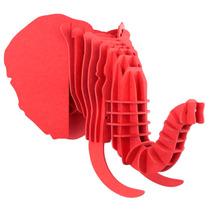 Elefante Rojo Cabeza Decorativa Animal Trofeo Valchromat8mm