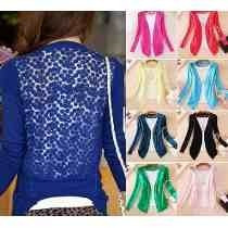 Blusinha Top De Renda Blusa Camisa Feminina Cardigan Tricot
