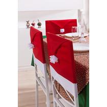 Kit 4 Capas Para Cadeira Vermelha Com Tema Natalino