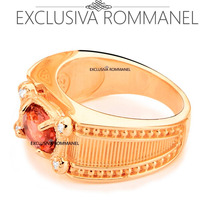 Anel Formatura Folheado Ouro Rommanel Masculino Lilas 511753