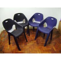 4 Poltronas Cadeiras Plásticas + Brinde Promoção Cadeira