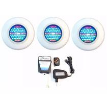 Kit Iluminação Piscina 3 Refletores Led 65 Abs Rgb + Comando