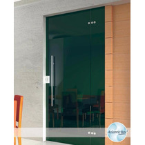 Porta Blindex 2,10 X 1,20 De Correr Vitron 8mm Verde / Fume
