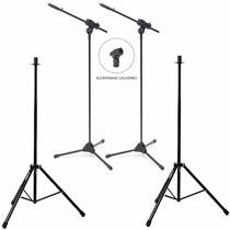 2 Suportes Pedestal P/ Caixa Som Acústica + 2 De Microfone