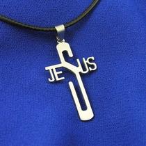 Colar De Couro Com Pingente Crucifixo De Aço Jesus Cristão