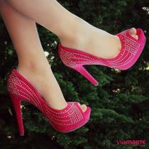 Peep Toe Meia Pata Via Marte 15-14601 Pink (frete Grátis)