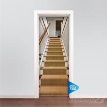 Adesivo 123 Porta Escada De Madeira Mod 782