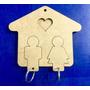 Porta Chaves Família Em Madeira Mdf Cru 3mm Com 02 Chaveiros