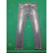 Pantalón Benetton Skinny Talla 32 Color Azul Medio