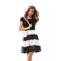 Vestido Importado Negro/blanco Algodon Y Gasa