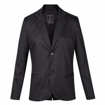 Saco Entallado Phillip Black Cotton Lycra Quality Import Usa