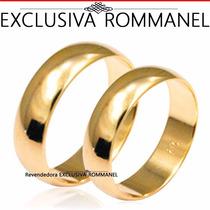 Rommanel Par Aliança Lisa Meia Cana Larga Banho Ouro 510892