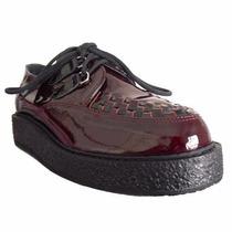 Creeper Sapato Couro Vinho Envernizado Frete Grátis Cr-190.