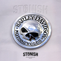 Adesivo Skull Caveira 3d Emblema Redondo 5,5cm. Moto Harley