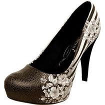 Sapato Scarpin Di Cristalli Floral Preto E Branco + Brinde