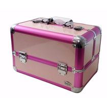 Maleta Organizadora Maquiagem Grande Profissional Rosa