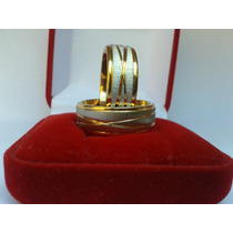 Par Aliança Aço Inox 8mm Banhada A Ouro Noivado (promoção)