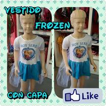 Vestido Tipo Disfraz Frozen Elsa Con Capa Desmontable