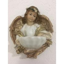 Angel De Resina Con Pila O Concha P Agua Bendita 25 Cm Alto