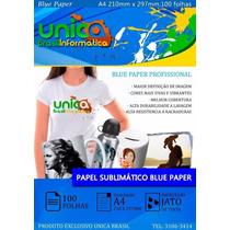 Papel Sublimático Blue Paper 100 Folhas Resina Sublição