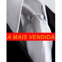 Gravata Prata Com Ou Sem Nó - Casamento - Top De Vendas