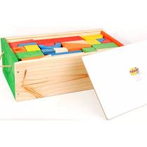 Caja De Bloques De Colores Madera Artesanal 95 Piezas 36x20