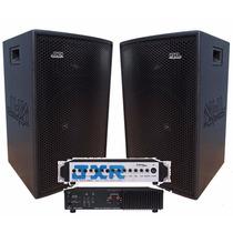 Par Caixas Acústicas 1x15 Nhl Pro Sound + Amplificador 6ch