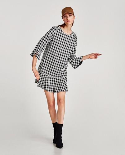 5f93188f3c Vestido A Cuadros Vichy Blanco Y Negro Importado Zara New -   2.590 ...