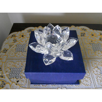 Flor De Lótus Brilhante Em Cristal 11 Cm