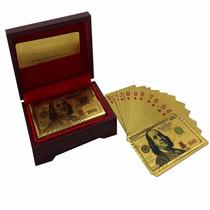Cartas Baraja Poker Chapa Oro 24k Caja De Madera 100 Dolares