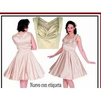 Vestido De Coctel Marca Lindy Bop En Color Hueso Talla L