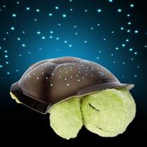 Luminária Estrelas Musical Tartaruga Pelúcia Verde Som Luz