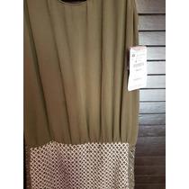 Vestido Zara Talla Xs 24 Verde Estoperoles Mujer Dama Zara