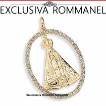 Medalha Imagem Nossa Senhora Aparecida Folhead Ouro Rommanel