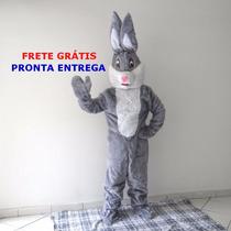 Roupa Fantasia Coelho Páscoa Cinza Mascote Pelúcia Cabeção