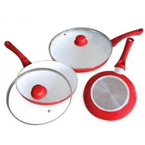 3 Sartenes Ceramic Pan + 2 Tapas - Ceramica - Congreso Lanus