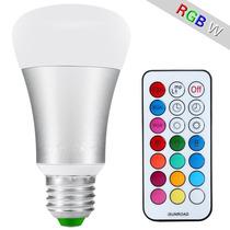 Lampada Led Rgb Colorida E27 10w Controle Remoto Com Efeitos