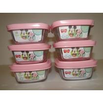 Pote Vasilha Vidro Marinex Baby Disney Papinha Kit 6 Rosas