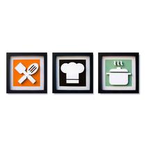 3 Quadros Decorativos Cozinha Sala Pintura Mdf 20cm