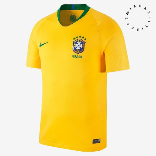 Camisa Nike Brasil I 2018 19 Torcedor Masculina - R  190 e72836ad36201