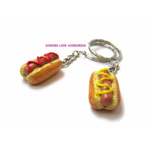 Llaveros Hot Dogs Miniatura Pareja Amor Amistad Best Friend