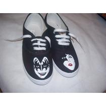 Zapatillas Pintadas A Mano Kiss Todos Los Talles